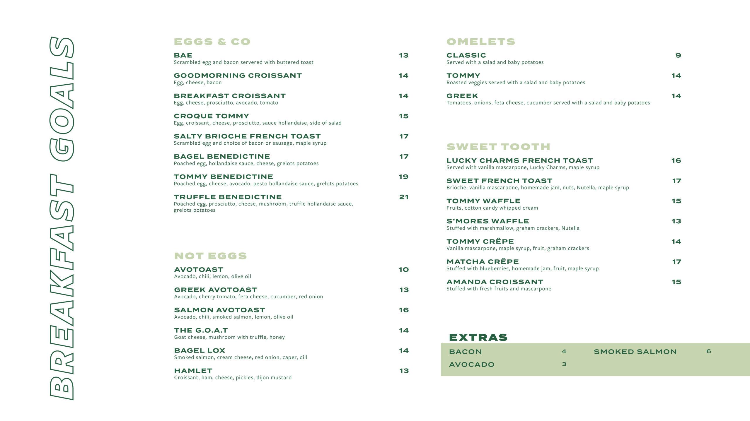 breakfast menu Mont-Royal