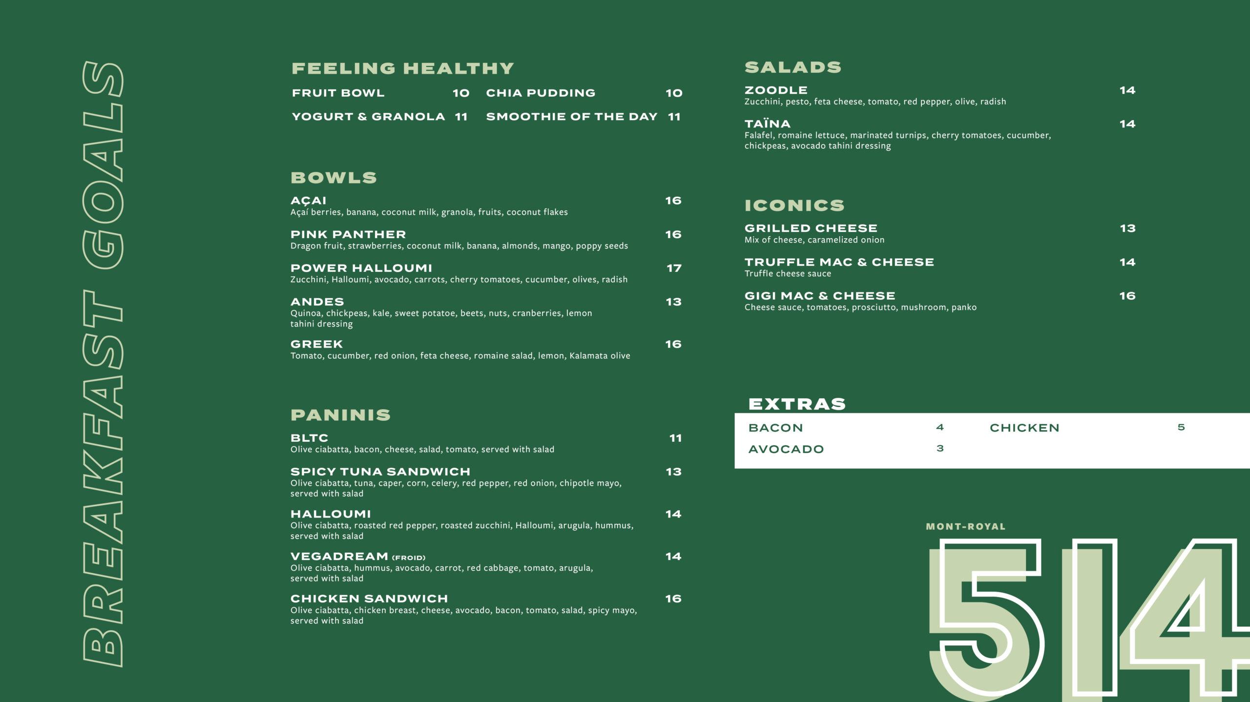 dinner menu Mont-Royal
