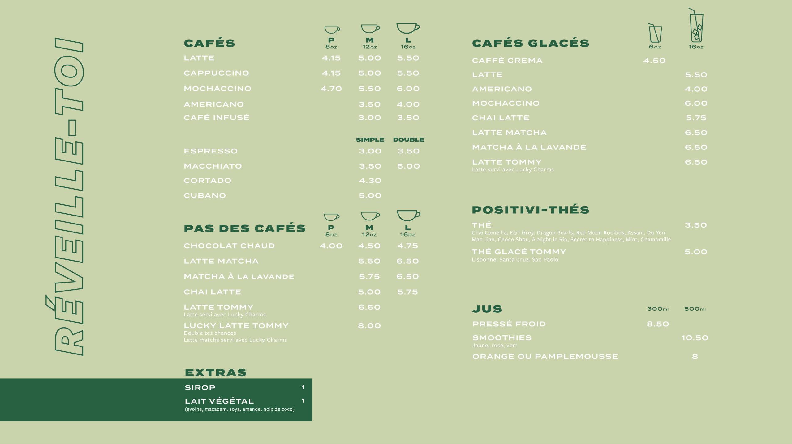 Menu cafés et thés Mont-Royal
