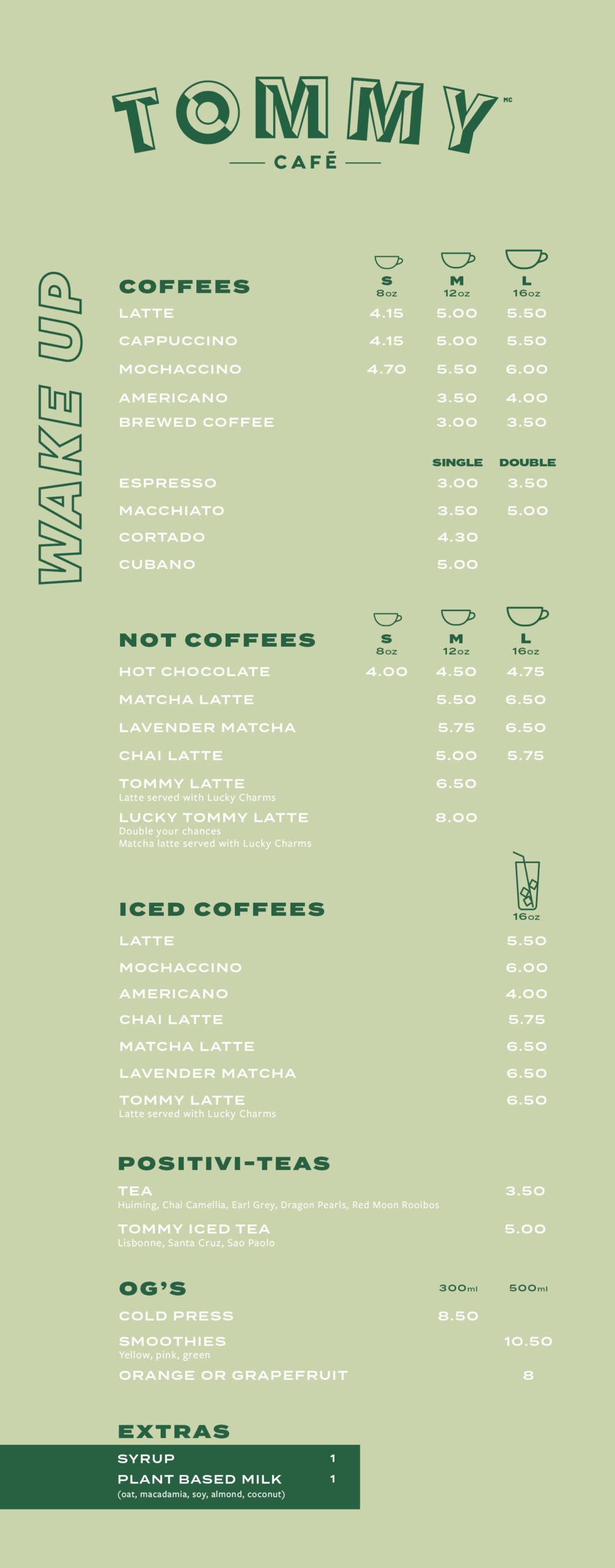 coffee and tea menu Notre-Dame