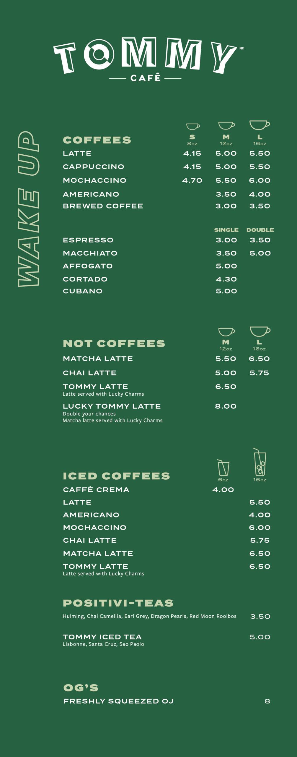 coffee and tea menu Oakville