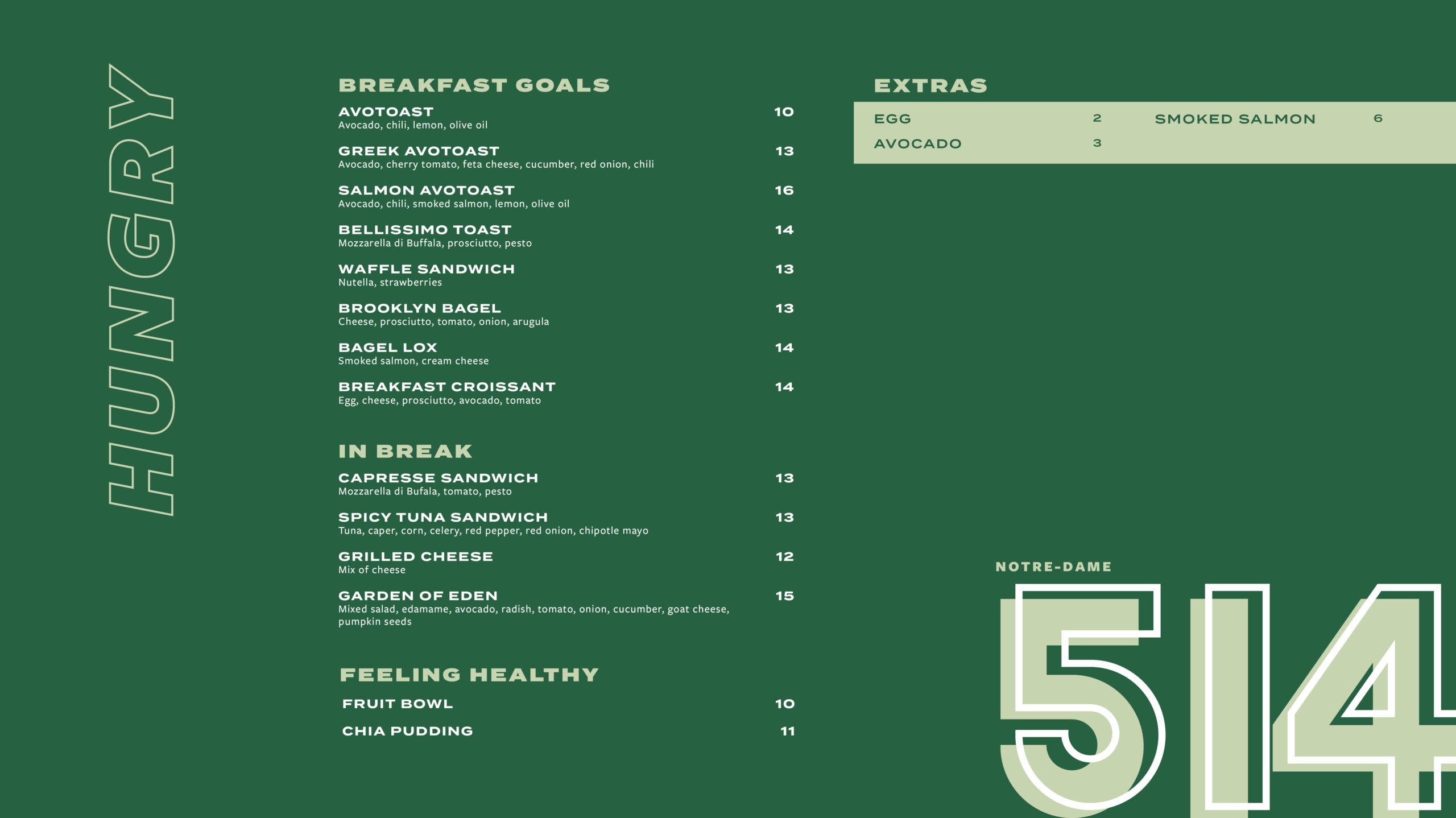 breakfast menu Notre-Dame