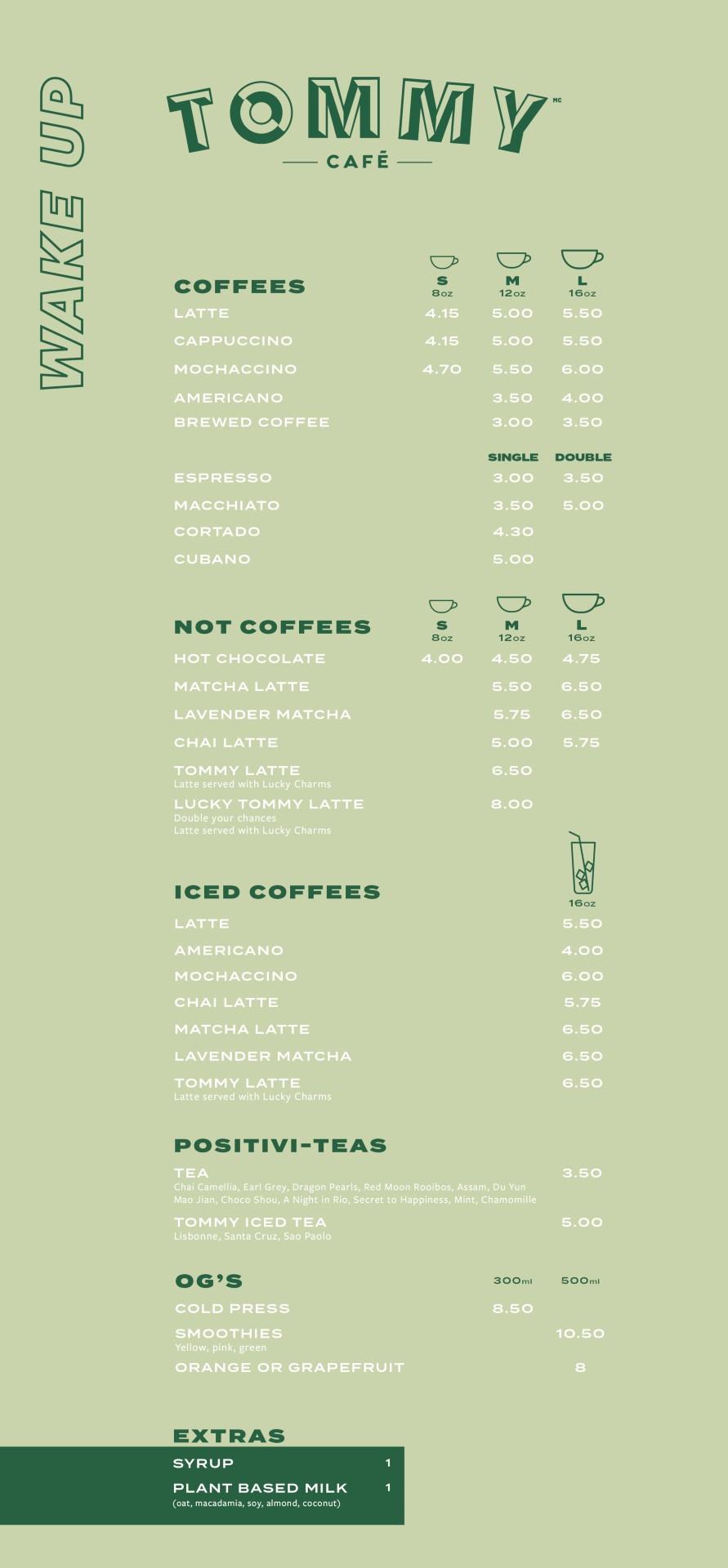 coffee and tea menu St-Paul