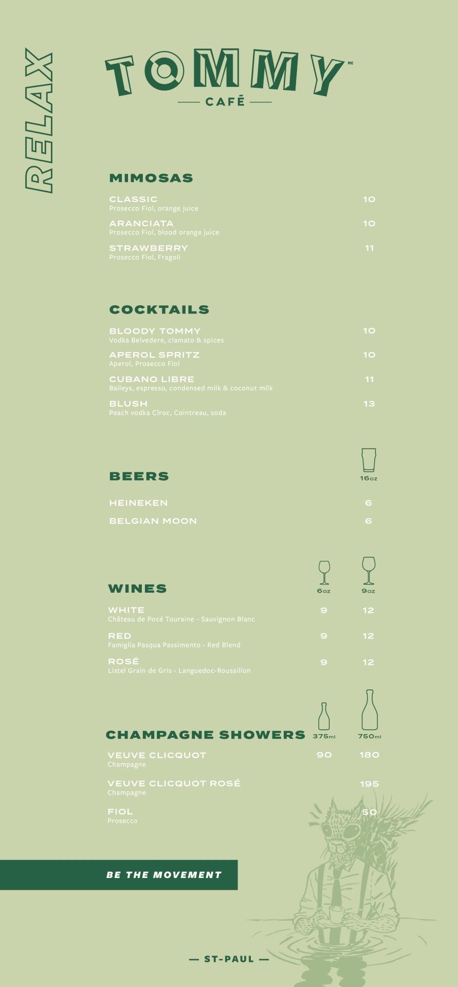 cocktails menu St-Paul