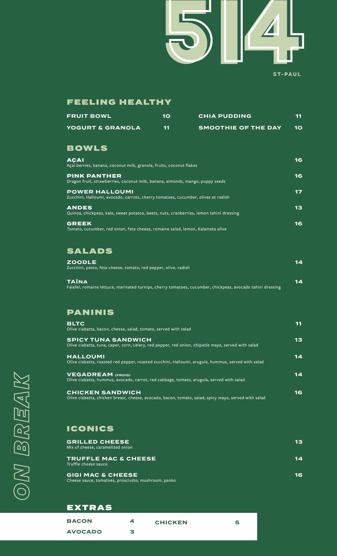 dinner menu St-Paul