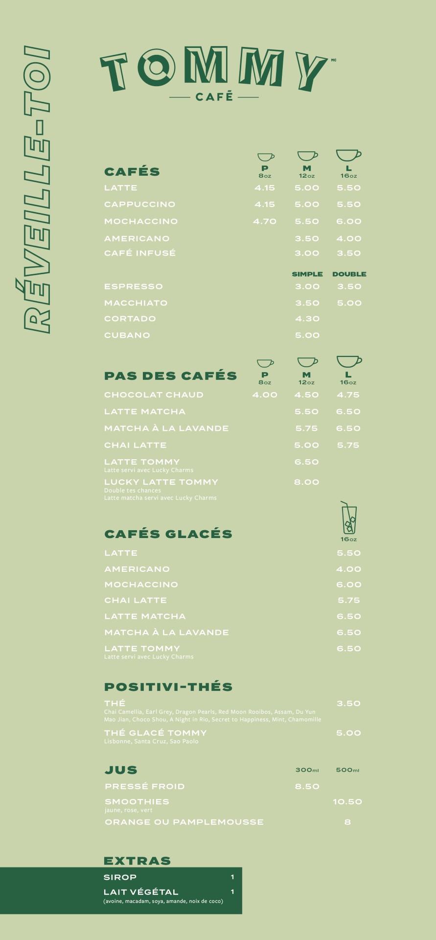 Menu cafés St-Paul