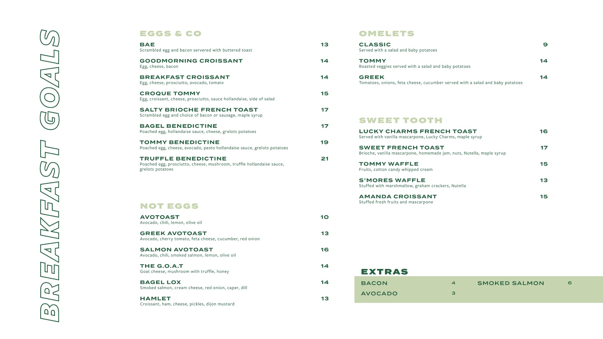 breakfast menu St-Paul