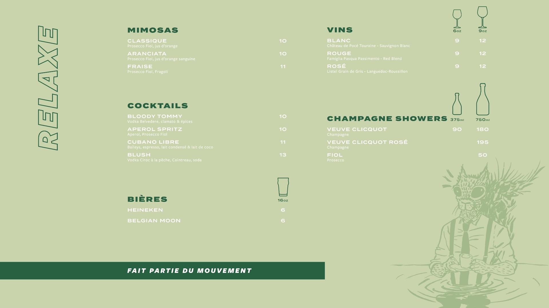 Menu cocktails St-Paul